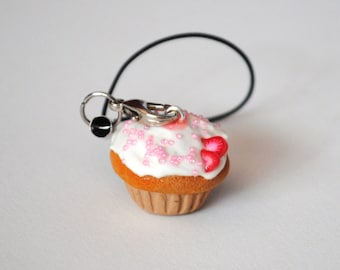 Vanilla Cupcake w/Pink Sprinkles & Strawberries Polymer Clay Charm