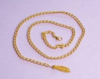 Tassel Waist Chain Gold Metal Belt Vintage Chain Belt Gold Chain Belt Tassel Belt Gold Chain Link Belt 90s Deadstock