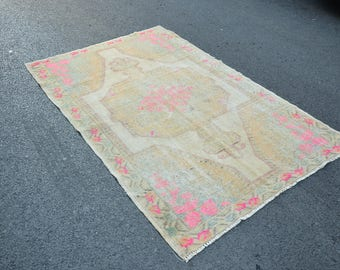 PASTEL RUG, Handmade Oushak Rug, Turkish Rugs, Faded Capadocia Anatolian Wool  Carpet,Living room decoration 6.7x4.3 ft, 204x132 cm