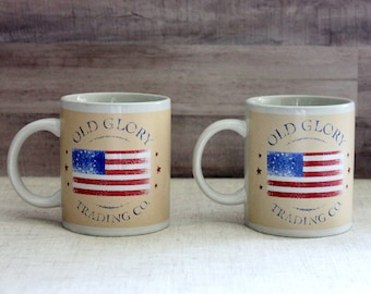 Old Glory Trading Co. Coffee Cup Mugs, Set of Two, Vintage Houston Harvest Coffee Cups, Houston Harvest Old Glory Coffee Mugs -V340