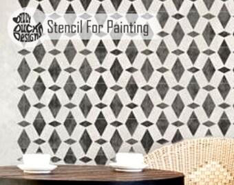 AGADIR STENCIL - Diamond Mosaic Moroccan Furniture Floor Craft Wall Stencil for Painting - AGAD01