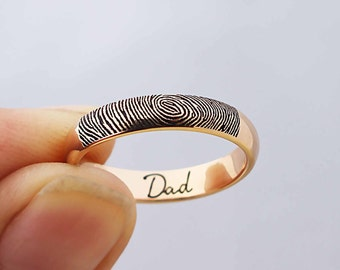 SALE 20% OFF - Actual Fingerprint Ring - Fingerprint Ring - Your Actual Signature Ring - Keepsake Jewelry