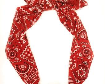 Red Bandana headwrap, Rockabilly pinup Headwrap, Paisley Headwrap,Red Baby bandana ,Red Head Scarf,Red Paisley knot headband, photo prop