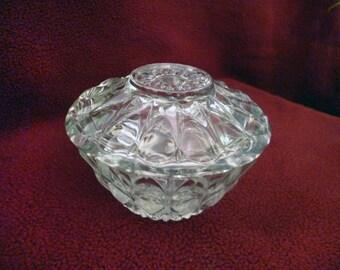 Crystal trinket box Small jewelry bowl lidded Glassware Lead glass clear Vanity Bijoux Pin ring storage