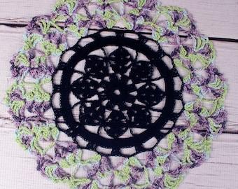 "Crocheted Black Green Purple Violet Halloween Table Topper Doily- 10 1/2"""