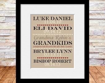 Gift for Grandmother, Grandparents Gift, Grandchildren-Names and Birthdates, Grandparent's Day, Grandmother's Birthday, Christmas Gift