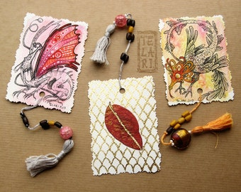 Watercolour Goldleaf Dragon Bookmarks with Autumn Blueberry Leaves