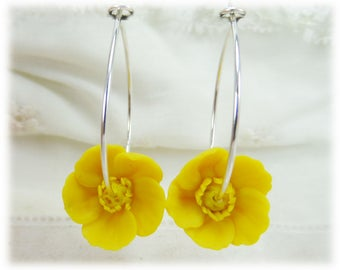 Yellow Buttercup Hoop Earrings - Silver or Gold Yellow Flower Hoop Earrings, Buttercup Jewelry, Yellow Buttercup