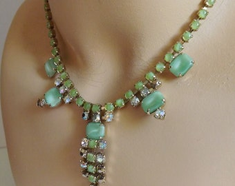 Vintage lime green rhinestone and moonstone necklace aurora borealis gold tone