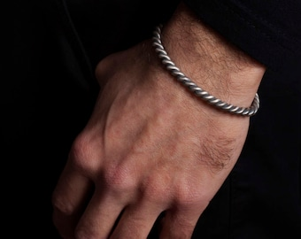 Twisted Rope Sterling Silver Bracelet Men