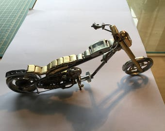 Chopper Motorcycle - Made from Watch & Clock Parts