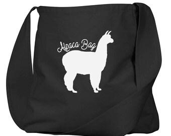 Alpaca Bag Black Organic Cotton Slouch Bag