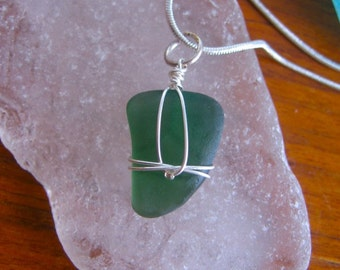 Beautiful Rich Teal Real Lake Superior Beach Glass Pendant Necklace