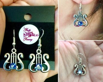 Charm/Lyre Charm Pierced Earrings on silver Fish hooks with Light Sapphire Swarovski Crystals