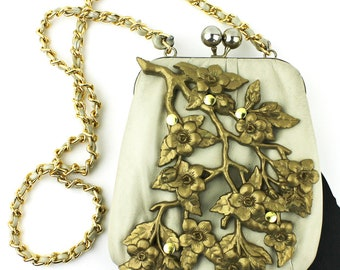 Cream Vintage Purse with Gold Dogwood Branches and Gold Chain Strap