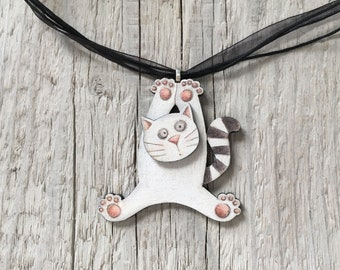 White Cat Pendant - Funny Jewelry - Gift for Cat Lover - Summer Necklace - Short Woman's Necklace - Wooden Jewelry - Whimsical Cat Drawing