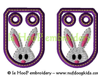 Machine Embroidery EASTER BUNNY Shoe Charms In-Hoop Design 4x4 5x7 6x10 TAGS Costume Hop Rabbit Decoration Wings