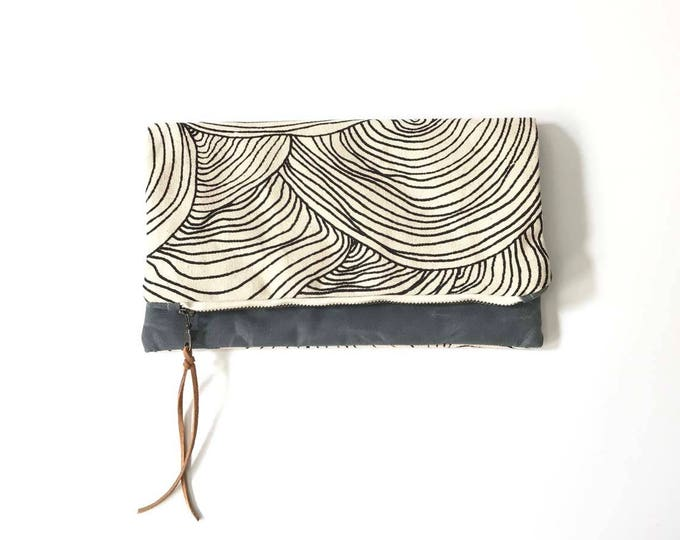 Reversible Waxed Canvas Foldover Clutch - Natural Canvas with Abstract Circle Pattern