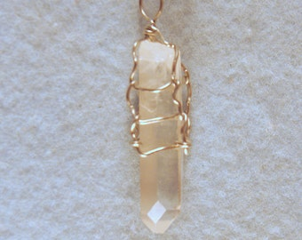 Tibet Time Link Door Crystal Wire Wrapped Pendant