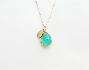 Turquoise Teardrop Pendant Charm Necklace with Leaf - 14k Gold Filled Chain or Satin Hamilton Gold Plated Brass Chain