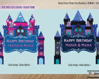 Frozen BACKDROP / Disney Frozen Castle  / Snow Flake / Printable / Winter Birthday Party Package /  Girl / 3D setting /  Large DIGITAL files