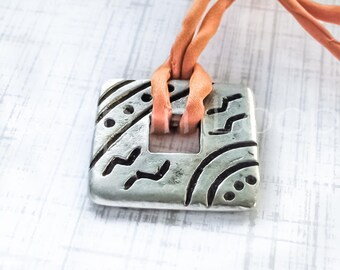 25%OFF Square connector Greek Geometric Mykonos Casting Antique Silver Bracelet connectors donut double sided bead Bohemian disc 14mm 1pc