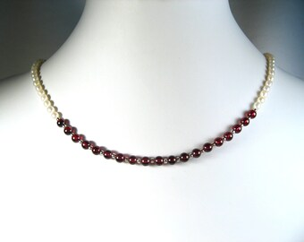 """Freshwater Pearl and Garnet Necklace Silver 18"""""""