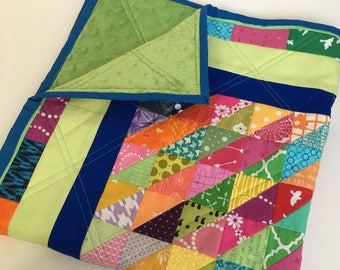 Colorful Gender Neutral Square Baby Quilt Minky Backing One of A Kind