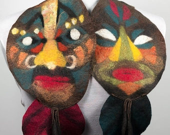 "Felted scarf-Collar Scarf-""Masks"" Scarf in wool felted-Felting-Brown"