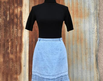 "High Waisted Denim Pencil Skirt / Route 66 / 30"" waist"