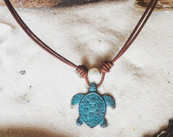 Sea Turtle and Pearls on Leather Necklace #91