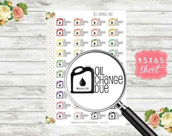 Oil Change Planner Stickers - Car Maintenance Planner Stickers - Oil Change Stickers - Oil Change Tracker Stickers - H158