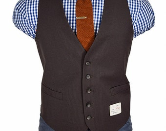 44 Short Two Pocket Brown Pinstrip Gentry Vest -- Never Been Worn
