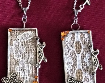 Brown and Gold Silver Soldered Lace, Flower, and Leaf Crystal Long Necklace; Silver Long Necklace; 2 Side Soldered Pendant; Crystal Necklace