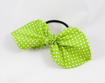 Light Green Polka Dot Top Knot Hair Bow -hair ties/hair accessories/ponytail holder/hair band/handmade/gifts for her/mothers day gift/kawaii