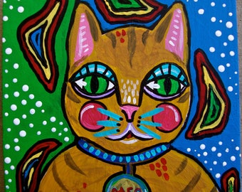 Small Cat Folk Art Painting