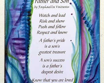 FATHER SON Original POEM Inspirational Quote Family Birthday Fathers Day Gift Home Decor Dad Poetry Print Heartful Art by Raphaella Vaisseau