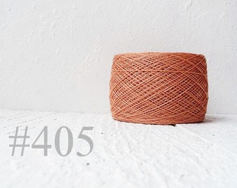 Laceweight Linen yarn - peach salmon coral # 405