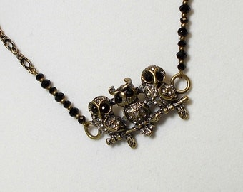 Antique Gold Owl Trio With Rhinestone Pendant Necklace Owl Pendant Necklace
