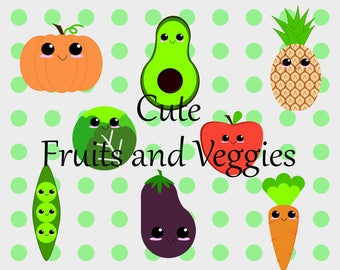 Clipart: Cute Fruits and Veggies - 30 images of kawaii fruits and veggies in both png and jpeg files