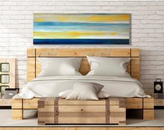 Large Beach Painting, Beach Wall Art, Large  Coastal Wall Art, Canvas, Print, Sea, Ocean, Water, Extra, Large, Horizontal, Coastal, Blue