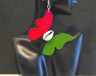 Red Black and Green Butterfly Earrings/ Pan African Flag Butterfly Earrings MADE TO ORDER