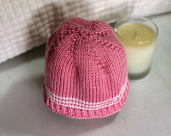 Cotton pink striped baby hat