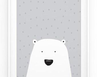 Polar Bear Print - Cute Nursery Art - Scandinavian Art - Childrens Art - Minimalistic Animal Print - Black - Grey - White - Instant Download