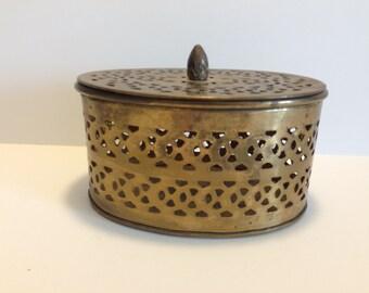Trinket Box Brass Box with Hole Puches Solid Brass Jewelry Box Stash Box Vintage Brass