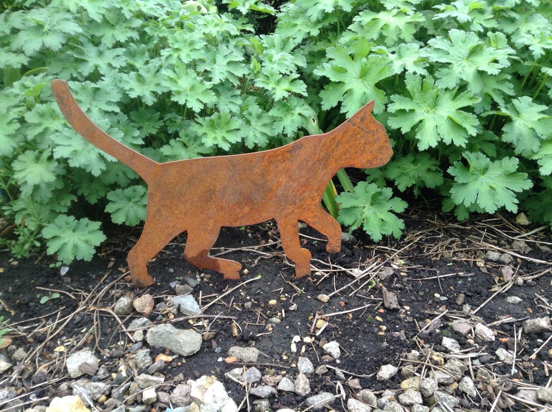 Rusty Cat Metal Garden Art / Walking Cat Metal Garden Decor /