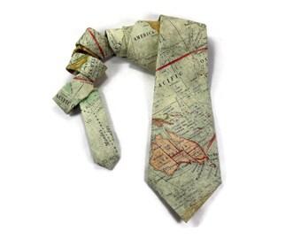 world map tie, Cartographer tie, map tie, travel tie, world traveler gift. geography tie, green map, vintage maps, traveler gift