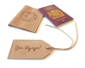 Set of Passport Holder and Luggage Tag