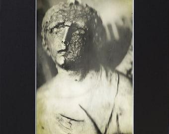 "Creepy Angel Photograph Print 5X7"" in an 8X10"" Black Mat"