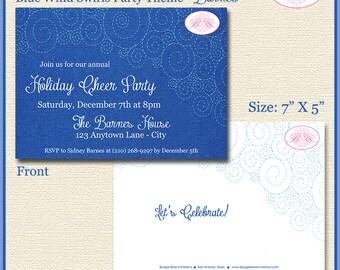 Blue Swirls Christmas Party Invitation Stitch Sew Winter Holiday Navy Boogie Bear Invitations Barnes Theme Theme Paperless Printable Printed
